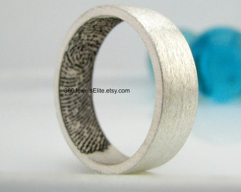 Finger Print Wedding Band - 6mm silver wedding band - Fingerprint Ring Silver - Fingerprint Jewelry - Men's Wedding Band - Etsy Fingerprint