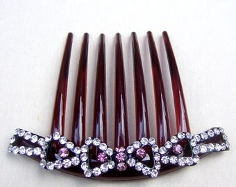 Vintage French Twist comb rhinestone hair accessory hair jewelry decorative comb headpiece headdress (AAK)