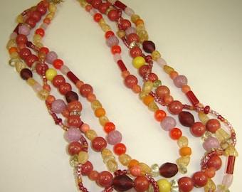 Four Strand Multi Color Necklace (Berry Melon Citrus)