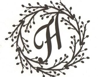 Wreath monogram letters A - Z set of four letters