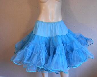 Turquoise Tequila Twists - Vintage 1950s Turquoise Blue Crinoline Petticoat