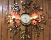 Mid-Century United Wall Clock - Gold Starburst Leaves Big Kitsch Electric Clock