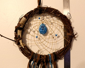 Blue Handmade Native American Dream Catcher with Brown Feathers