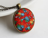 Colorful Boho Jewelry, Floral Fabric Necklace, Red Hippie Necklace, Retro, Unique Gift for Women, Primary Colors, Blue Yellow Red Pendant