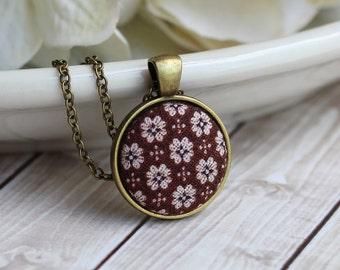 Tiny Pendant Necklace, Vintage Floral Fabric Jewelry, Boho Necklace, Hippie Jewelry, Brown Pendant, Boho Wedding, Rustic Bridesmaid Jewelry