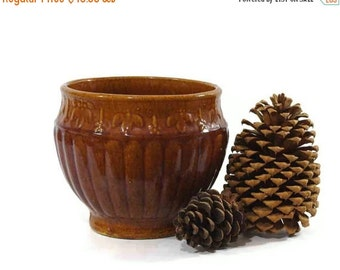 On Sale Vintage Stoneware Jardiniere, Large Flower Pot, Brown Pottery, Large Planter, Rustic Decor, Fall Decorating