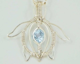 Faceted Sky Blue Topaz Argentium Sterling Silver Turtle Wire Wrap Pendant