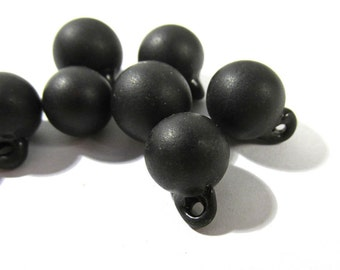 Victorian Black Glass Buttons Ball Buttons Hand Blown Glass VINTAGE Buttons Nine (9) Victorian Matching Jewelry Doll Making Supplies (J119)