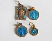 4 medals enamel blue vintage tiny religious pendant/ medals