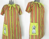 Poodle Housedress Striped Button Front Housecoat 1960s 1970s Kitsch