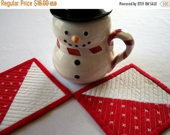 CIJ SALE Snowman Coasters Quilted Winter Stars Red White Set of 2 Quiltsy Handmade FREE U.S. Shipping