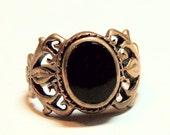 Onyx Antique Ring Fleur de Lis Vintage Ring GOTHIC Romantic Size 5.5 Vintage Jewelry