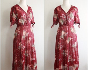 Vintage 1970s Romantic Floral Daydress