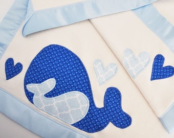 Organic Baby Blanket with Whales for Baby Boy -- Baby Blue