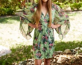 Vintage Angel Sleeve Floral Print Boho Mini Dress