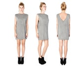 Gray V Neck Dress- Gray Mini Dress - Tshirt Dress - Little Gray Dress - Gray Tunic