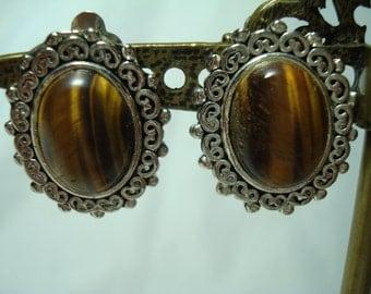 1980s Tigereye Clip On earrings.