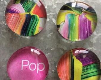 Pop Art set of four Glass Magnets