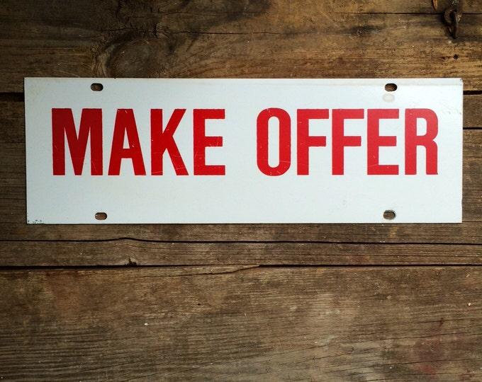 Make Offer Vintage Metal Sign Red White Industrial Decor