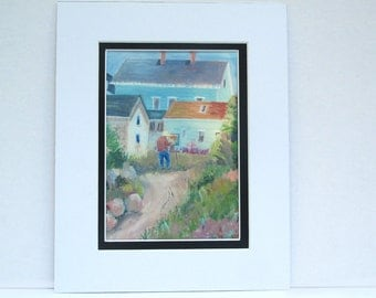 Small Print of Painting, Artist Painting Beach Houses, For Frame with 8x10 in Opening. Comes Matted