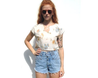 White with pastel retro floral print cap sleeve crop top UPCYCLED