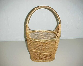 Decorative Slim Woven Basket With Carry Handle