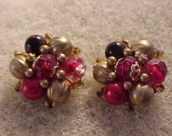 Cluster Bead Clip On Earrings Reds and Gold Beads