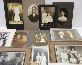 13 antique photographs portraits Couples Family Sisters Postcards Victorian cabinet photos Variety lot mixed media