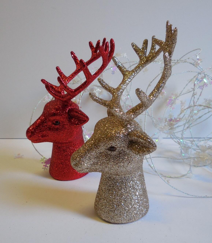 Christmas reindeer red or silver glitter deer stag head