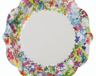 "Paper Plates 9"" Floral Scallops package of 12"