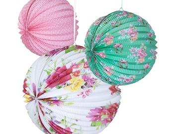 Shabby Chic Blossom Lanterns-Set of 3
