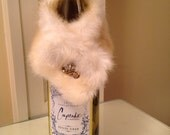 Cream fur wine stole with vintage earring