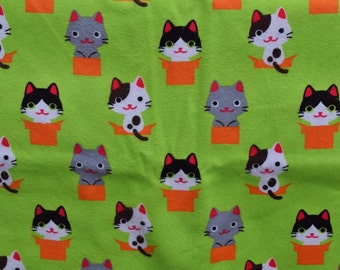 Lounge pants pajama dorm flannel made to order your choice size XS - 2X Adorable cats in boxes lime neon green background