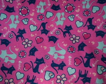 Lounge pants pajamas dorm flannel made to order your choice size XS - 2X blue and teal cats with fish, flowers, and hearts on pink