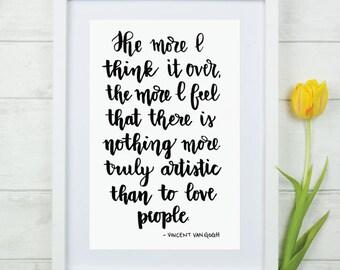 Van Gogh Printable Quote 8x10