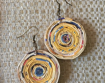 n. 54 YELLOW & BLUE round coiled recycled paper pierced earrings with glass beads measure 1.5""