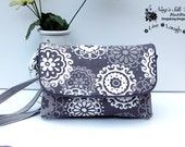 Sale 30% off! Twin Wallet Grey Floral Smartphone Wallet iPhone 6 Plus Samsung Galaxy S6 Card Slots Zipper Passport Cosmetic pockets