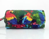 Cellphone Wallet iPhone 6 Plus Samsung Galaxy Note 4 S6 S4 12 Card Slots Zipper Pocket Wristlet Tropical Parrot Multi