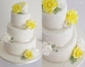 """6"""" yellow and white rose cake topper with extra roses and calla lilies"""
