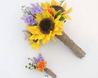 Wildflower Wedding Bridal Bouquet - Sunflower, Orange Mum, Purple Lavender, Twine Wrap, Summer Wildflower Bouquet, Country Chic Bouquet