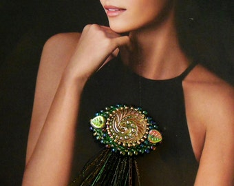 Gift Brooch green Bead embroidery Peacock feathers Bohemian button