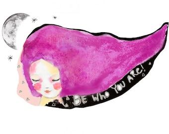 Instant Download -  girl and moon art print, watercolor print, purple hair girl, illustration, mixed media art, wall art, sweet, calligraphy