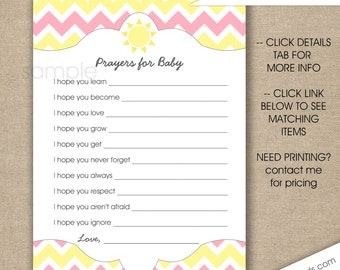 Sunshine Prayers for Baby, instant download, pink yellow girl baby shower games, printable wishes cards, you are my sunshine