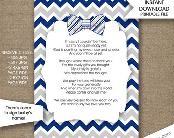 Bow Tie Baby Shower Thank You Notes with poem, INSTANT download, boy baby shower thank you cards, navy grey chevron 4x6 5x7