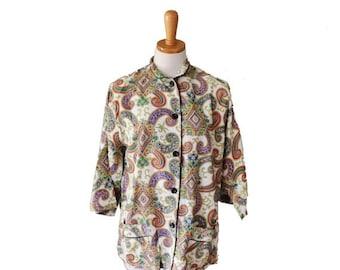 50% half off sale // Vintage 50s Mara Kobb Asian Pattern Sleep Shirt - Women M L - kimono sleeves