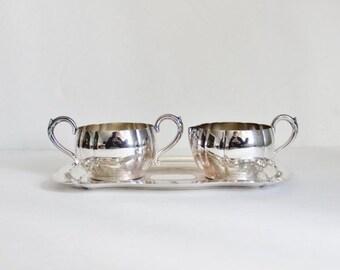 BLOWOUT 40% off sale Vintage 50s Oneida Tudor Plate - Creamer Sugar Tray Set - silver plate