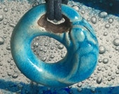 Turquoise Ceramic Mermaid Pendant Handmade in Cornwall