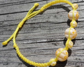 Yellow Millefiori Beaded Knotting Cord Bracelet