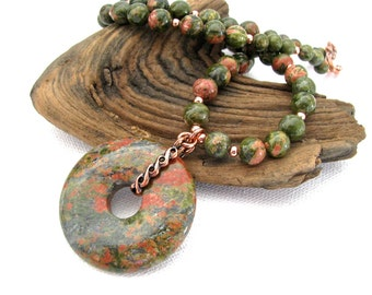 Unakite and Copper Natural Gemstone Donut Pendant Necklace