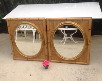 """BAMBOO RATTAN MIRRORS / Pair of Rattan Mirrors / 32"""" tall / Old Florida Island Style / Oval Gold Mirrors On Sale at Retro Daisy Girl"""